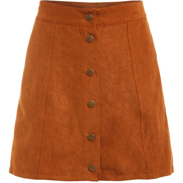 8408682f82f SheIn(sheinside) Faux Suede Buttoned Front Skirt ($11) ❤ liked on Polyvore  featuring skirts, bottoms, shein, khaki, short a line skirt, short skirts,  ...