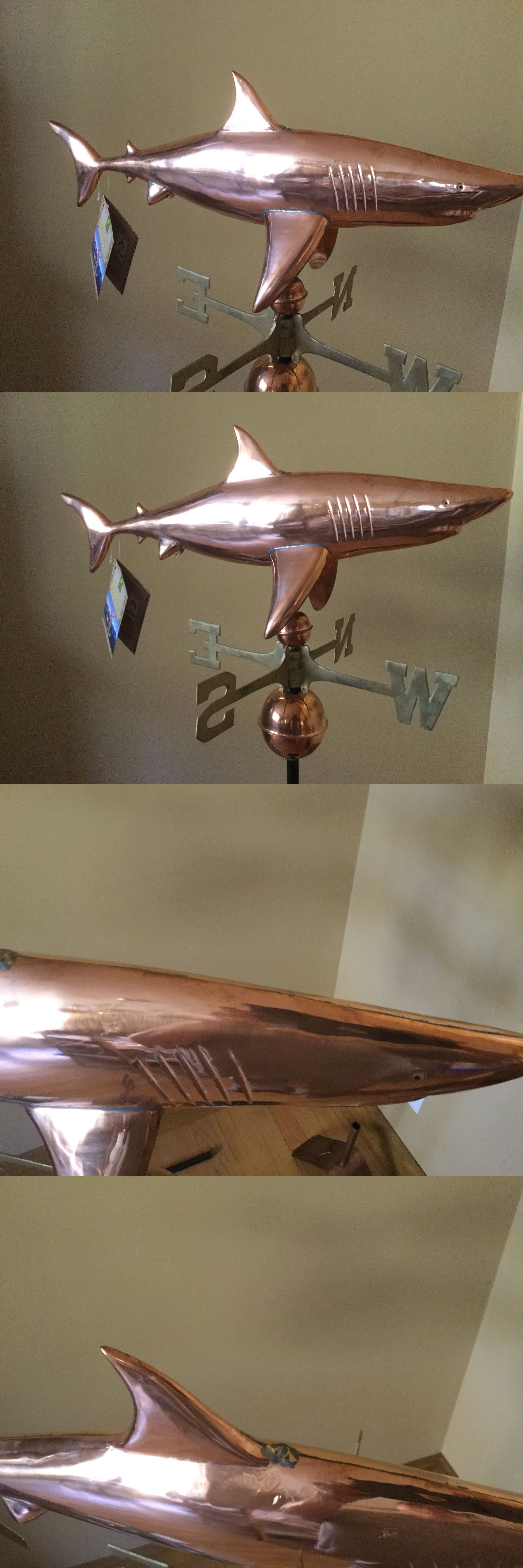 Weathervanes 20512 Good Directions Polished Copper Shark Weathervane With Roof Mount Buy It Now Only 175 On Ebay We Good Directions Weathervanes Copper