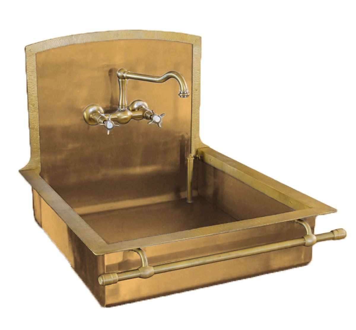 italian brass sink with towel bar by restart of florencegorgeous - Brass Kitchen Sink