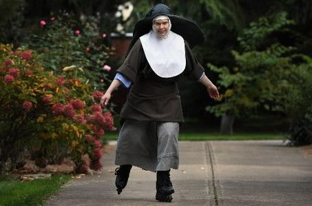 """Sister Christina, skating in the Poor Clares garden, had to adjust to living on a schedule and keeping silent in the monastery on Cleveland's West Side. """"The silence was hard,"""" she says. """"I was always around noise -- music, the TV. But the voice of God is very quiet. He speaks to your heart. If it's noisy, you can't hear him."""""""