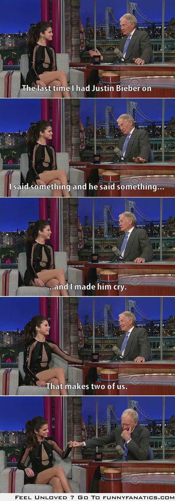 Letterman and Selena Gomez discuss Bieber