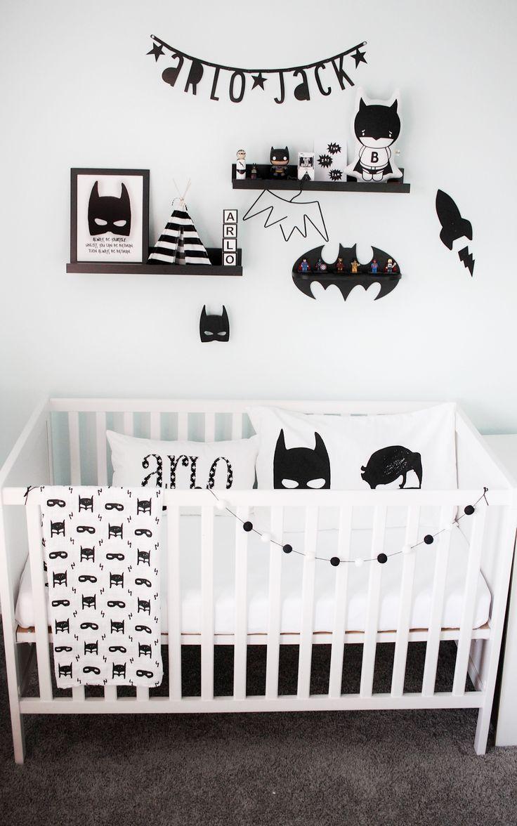 Monochrome Boys nursery or bedroom  Lots of batman and cute small shop inspo  is part of Baby boy bedroom -