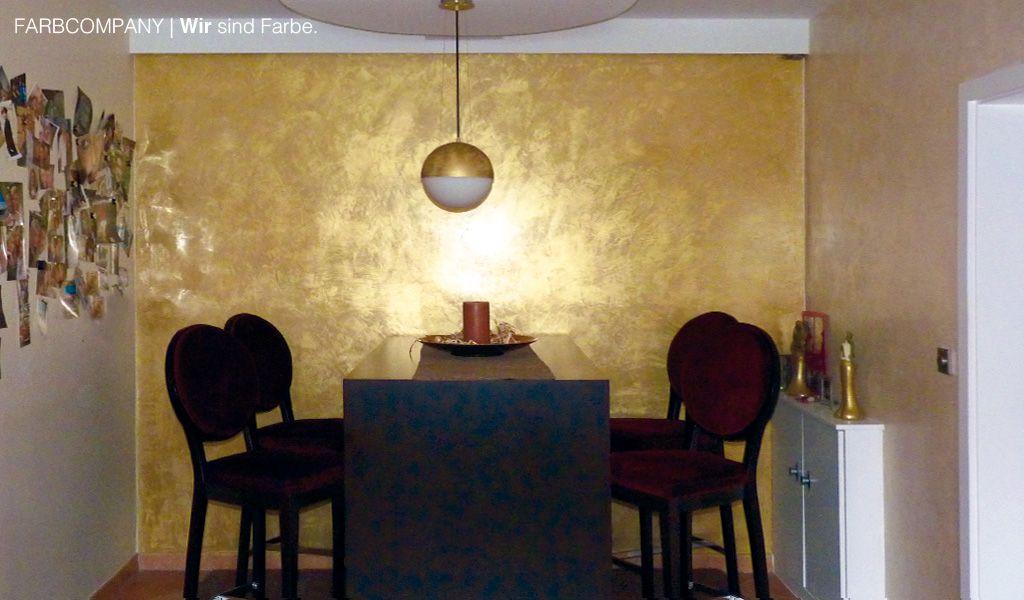 Wandgestaltung gold venezianische spachteltechnik gold - Venezianische spachteltechnik ...