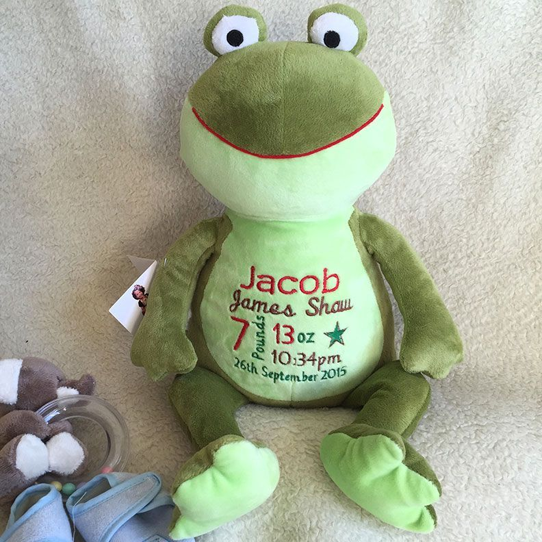 24 personalised baby gift baby cubbie frog a plush stuffed personalised baby gift baby cubbie frog a plush stuffed animal keepsake with embroidered birth information personalised soft toy animal froggie woggie negle Gallery