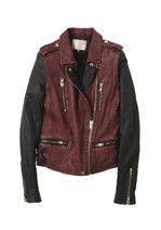 Women - IRO leather blend burgandy jacket