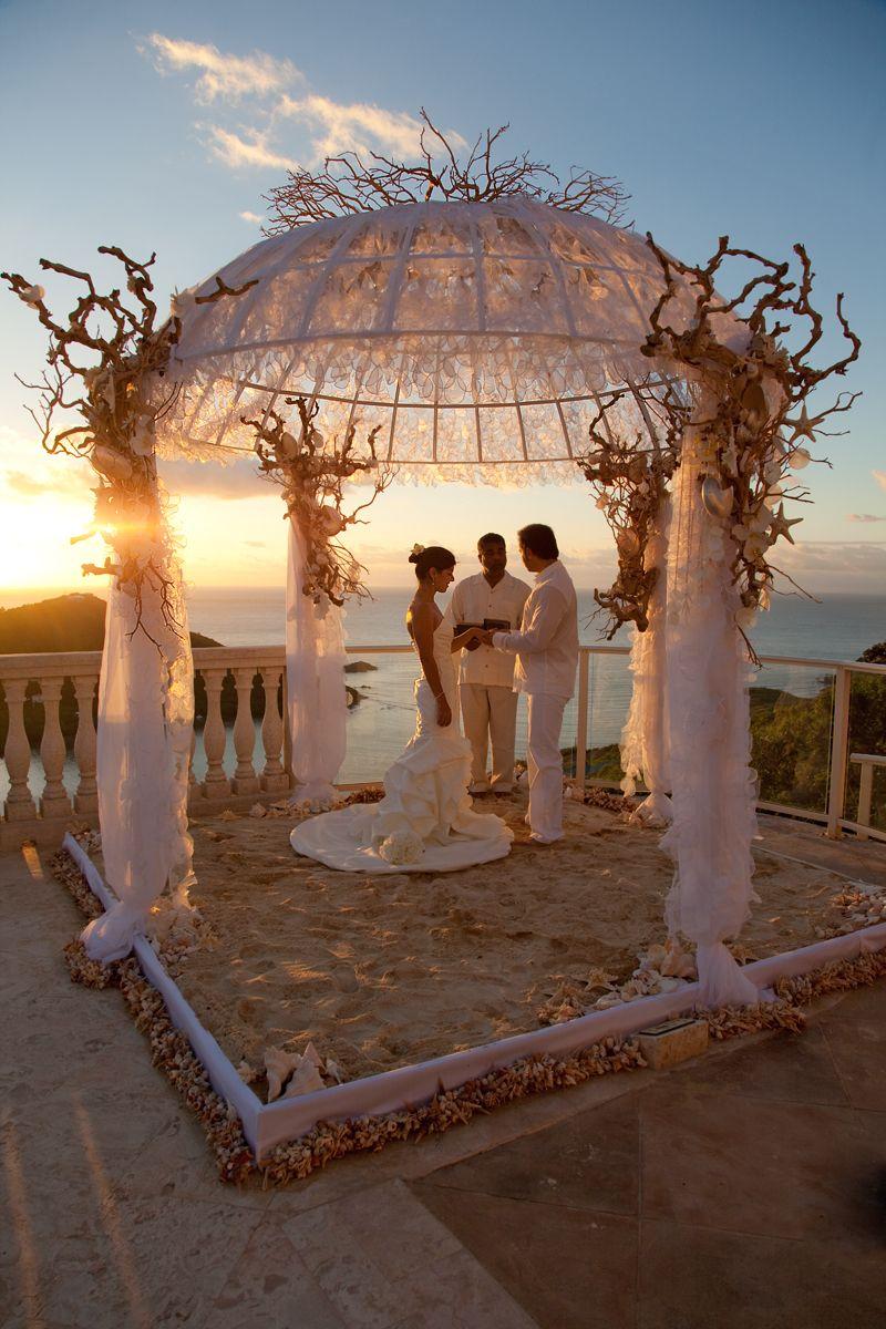 US Virgin Islands Destination Wedding Romantic Beach Front Under A Flower Decorated Pavilion Is