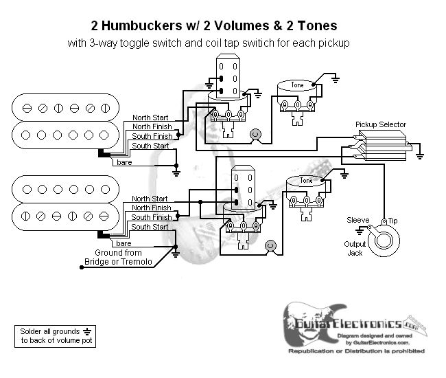 guitar wiring diagram 2 humbuckers 3 way toggle switch 2 volumes 2 guitar wiring diagram 2 humbuckers toggle switch two volumes and two tone controls gibson a push pull switch for single coil mode for each