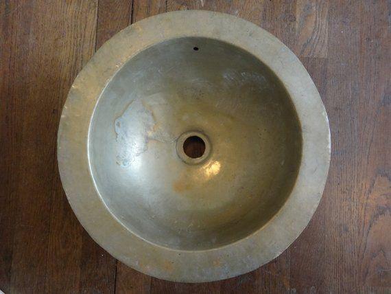 Vintage French Brass Kitchen Sink Washing Up Water Basin Bowl