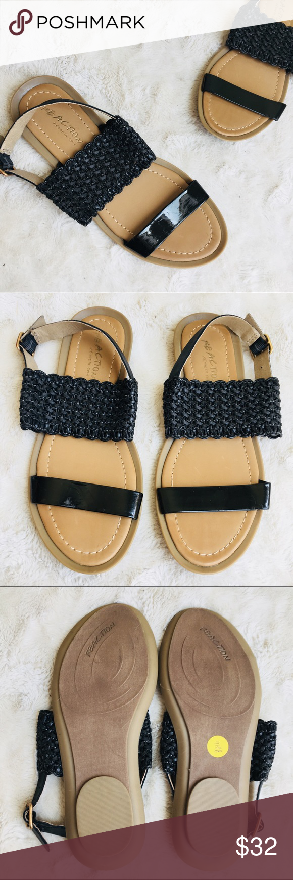 2c3a62773e63 NWT Reaction Kenneth Cole black sandals Reaction by Kenneth Cole black  sandals. Braided looking thick strap with slimmer patent looking toe strap.