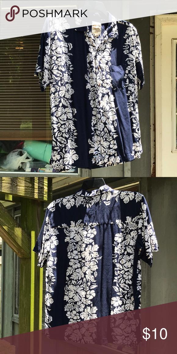 Steve & Barry's classic Hawaiian shirt Navy blue with 3
