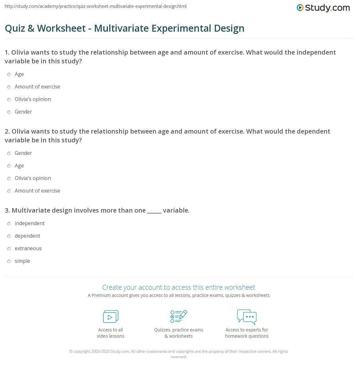 Experimental Design Practice Worksheet Quiz Amp Worksheet