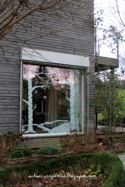 adventsfenster gross schneelandschaft papier kreidemarker kreidestift malen basteln ideen ein. Black Bedroom Furniture Sets. Home Design Ideas