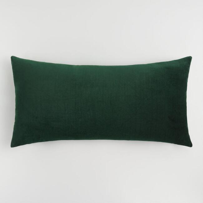 Oversized Forest Green Velvet Lumbar Pillow Green Velvet Pillow Green Pillows
