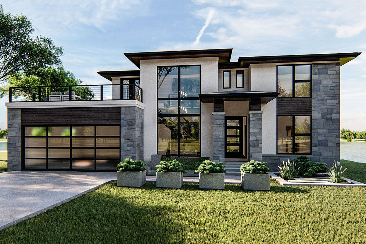 Plan 62749DJ: 4-Bed Modern Prairie-Style House Plan with Massive Balcony Over Garage