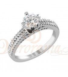 Μονόπετρo δαχτυλίδι Κ18 λευκόχρυσο με διαμάντι κοπής brilliant - MBR_095