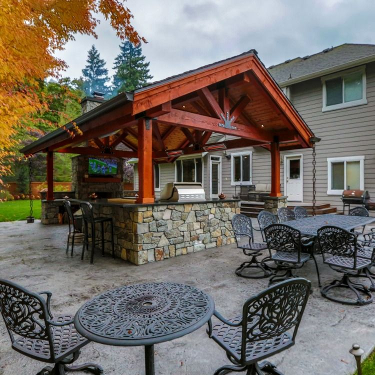 This Is One Of Favorite Projects A Huge Gable Style Roof With Complete Outdoor Kitchen And Fireplace The Perfect Patio Covered Outdoor Kitchens Covered Patio