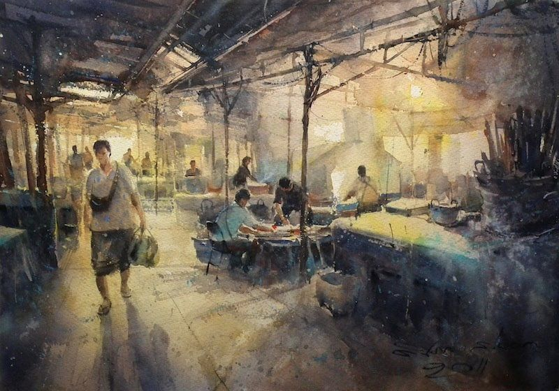 In the early morning at old market, Khonkaen No.2 (watercolor, 36x50 cm)