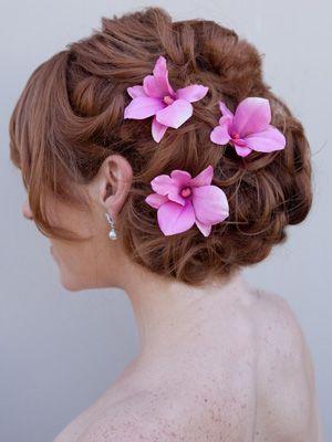 Pink Orchid Hair Flower By Hair Comes The Bride Wedding Hair Brunette Flowers In Hair Bridal Hair Flowers