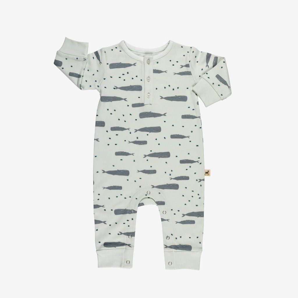 Whale Unisex Long Sleeve Baby Gown Baby Bodysuit Unionsuit Footed Pajamas Romper Jumpsuit
