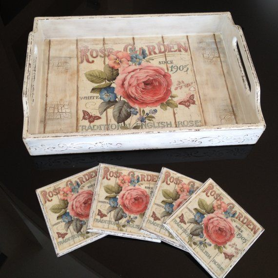 Roses Serving tray-vintage serving tray-shabby chic decor-cup coasters-table coasters-shabby chic kitchen decor-wooden tray