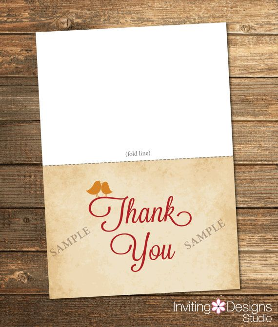 Thank You Card, Fall Bridal Shower, Love, Birds, Heart ...