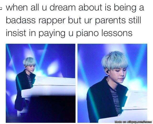 My piano lessons are free and I don't want to be a rapper, so I'm going to save this pin because it has Yoongi in it #howtosing