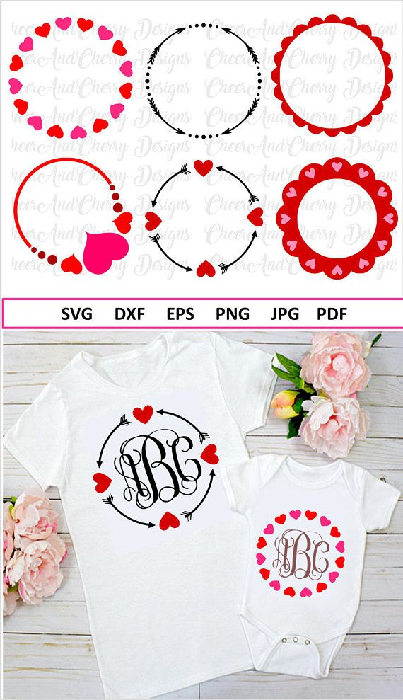 Valentine Monogram Bundle Svg Valentines Day Monogram Svg Bundle