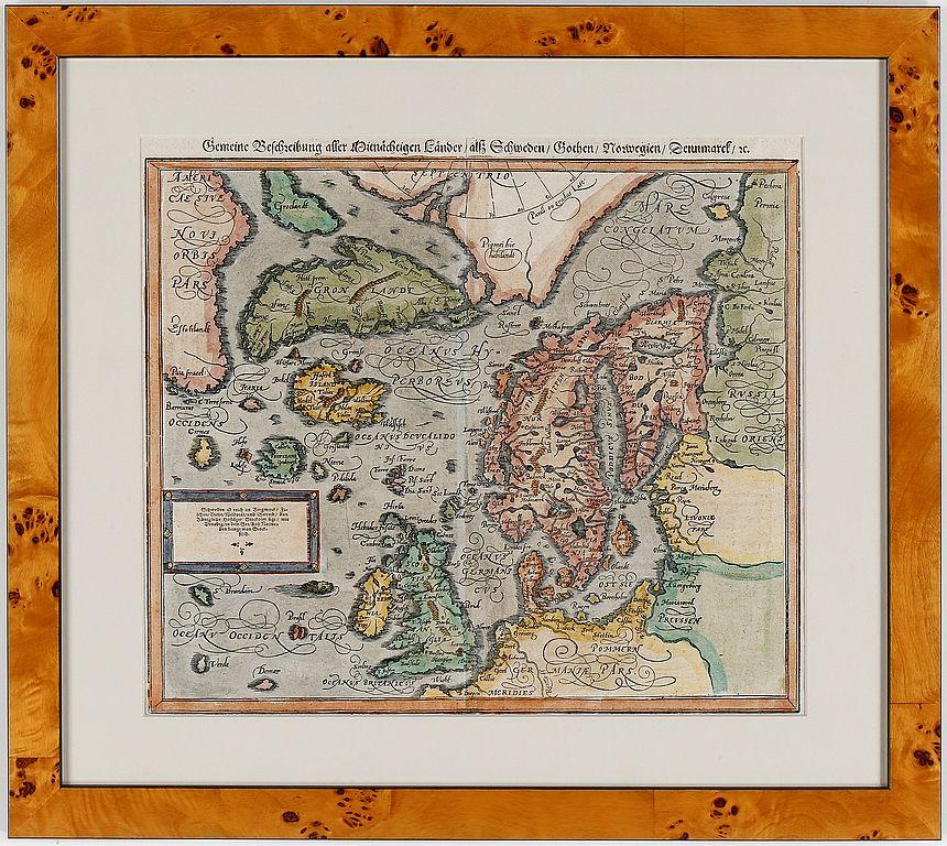 map over northern europe scandinavia 1588 1628 karta skandinavien