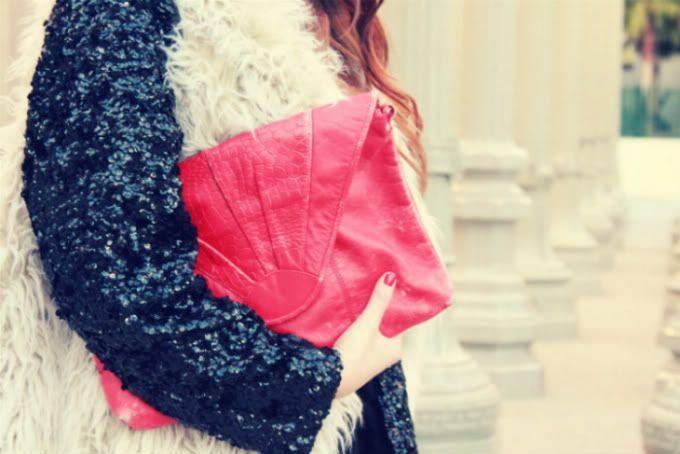 fur over sequins, pink clutch