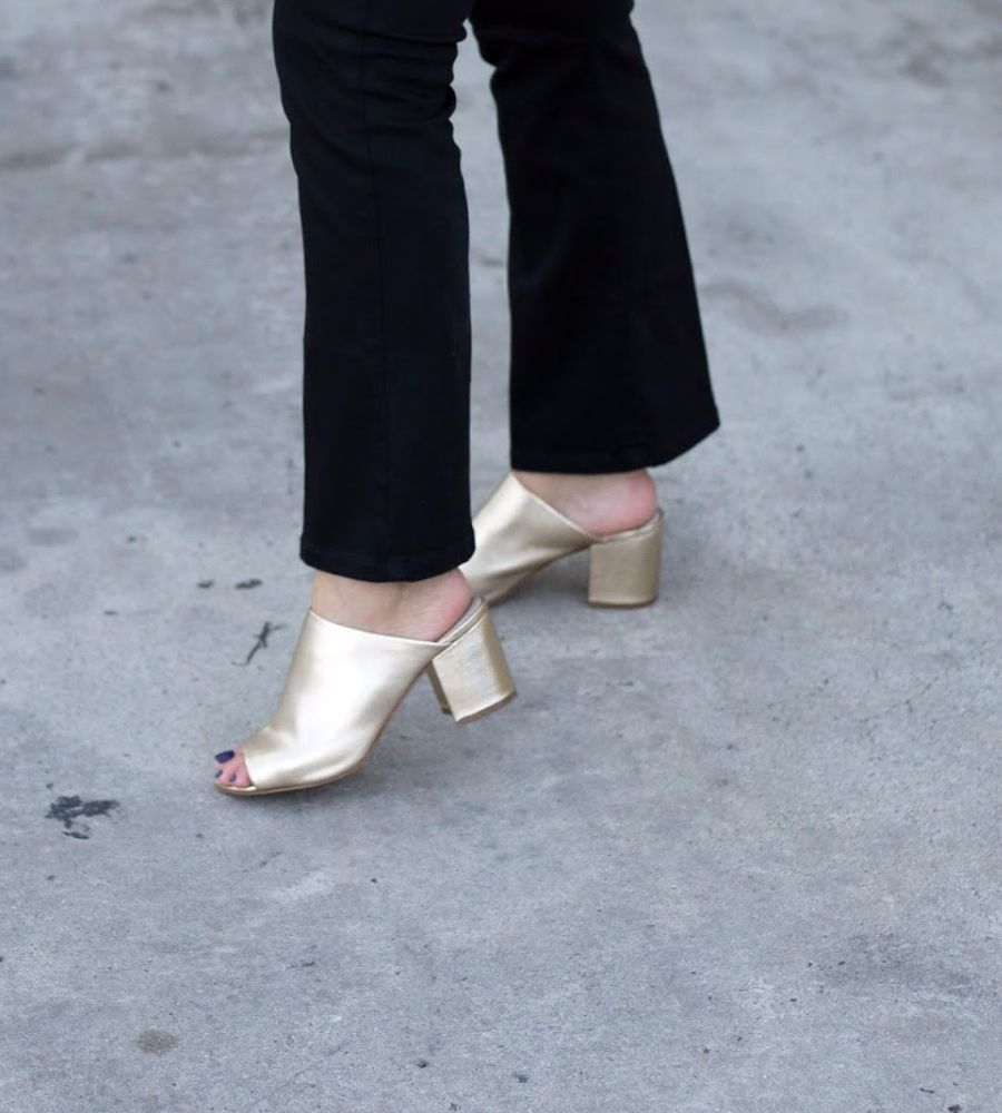 The first are mules, specifically metallic mules like the ones I am wearing  from Steve Madden called Infinity. Mules have been popular since the believ