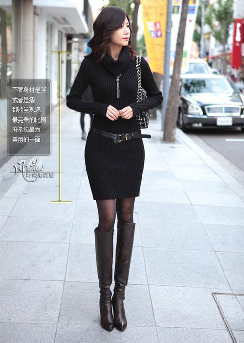 Sweater Dress With Boots Extremely Long Legs Or Extremely