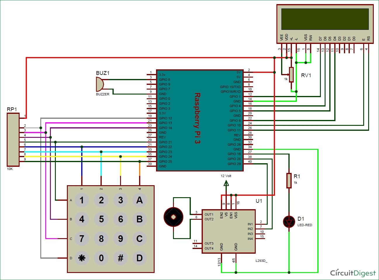 raspberry pi digital code lock circuit diagram [ 1297 x 957 Pixel ]