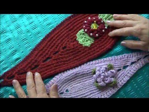 Vincha o diadema con flor tejida en dos agujas youtube - Diademas de ganchillo ...
