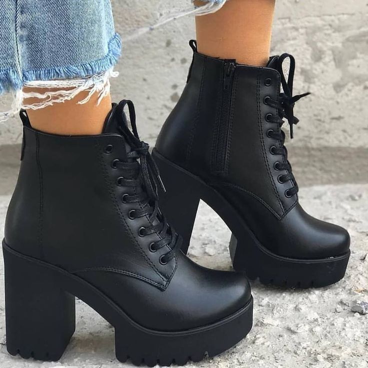 Womens High Heels Martin Ankle Boots Ladies Zipper Lace Up