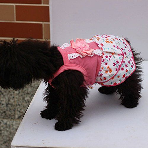LowpriceniceTM 1PC Soft Sweet Pet Dog Lace Printed Flower Pink Skirt Crystal Bowknot Princess Dress S