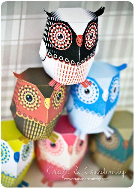 Downloadable paper owls Teaching ideas Pinterest Paper owls