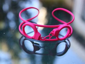 Handcuffs Anklet  (size M / L) in Pink Strong & Flexible Polished