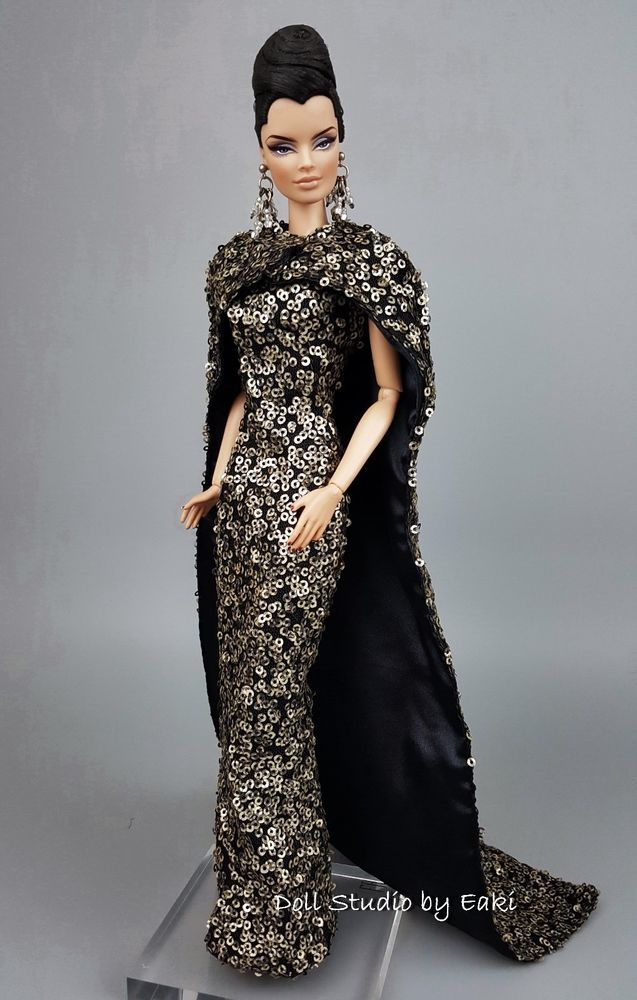 Eaki Silkstone Barbie Fashion Royalty Evening Black Lace Dress Outfit Gown Fits