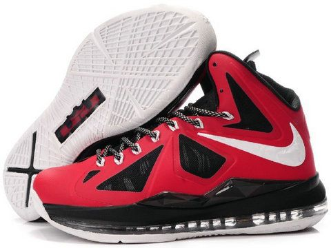 Cheap Lebron 10 Shoes Red Varsity Black White