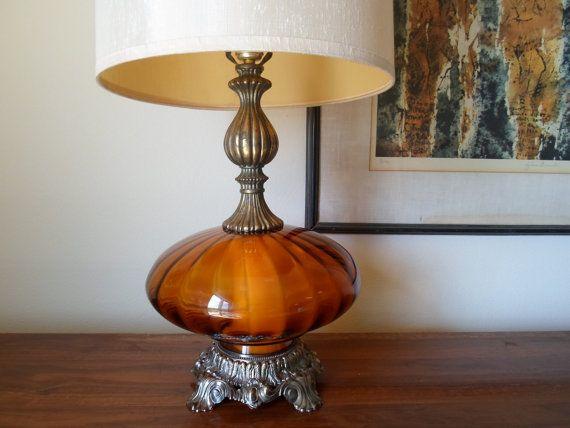 Vintage 1971 L Lwmc Hand Blown Orange Glass Table Lamp And Shade Antique Brass Night Light Retro Lamp Lighting Mid Century Modern Glass Table Lamp Retro Lamp Lamp
