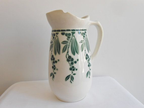 French vintage Art Deco pitcher, jug, Digoin Sarreguemines, green oriental flower design, Lakmé.