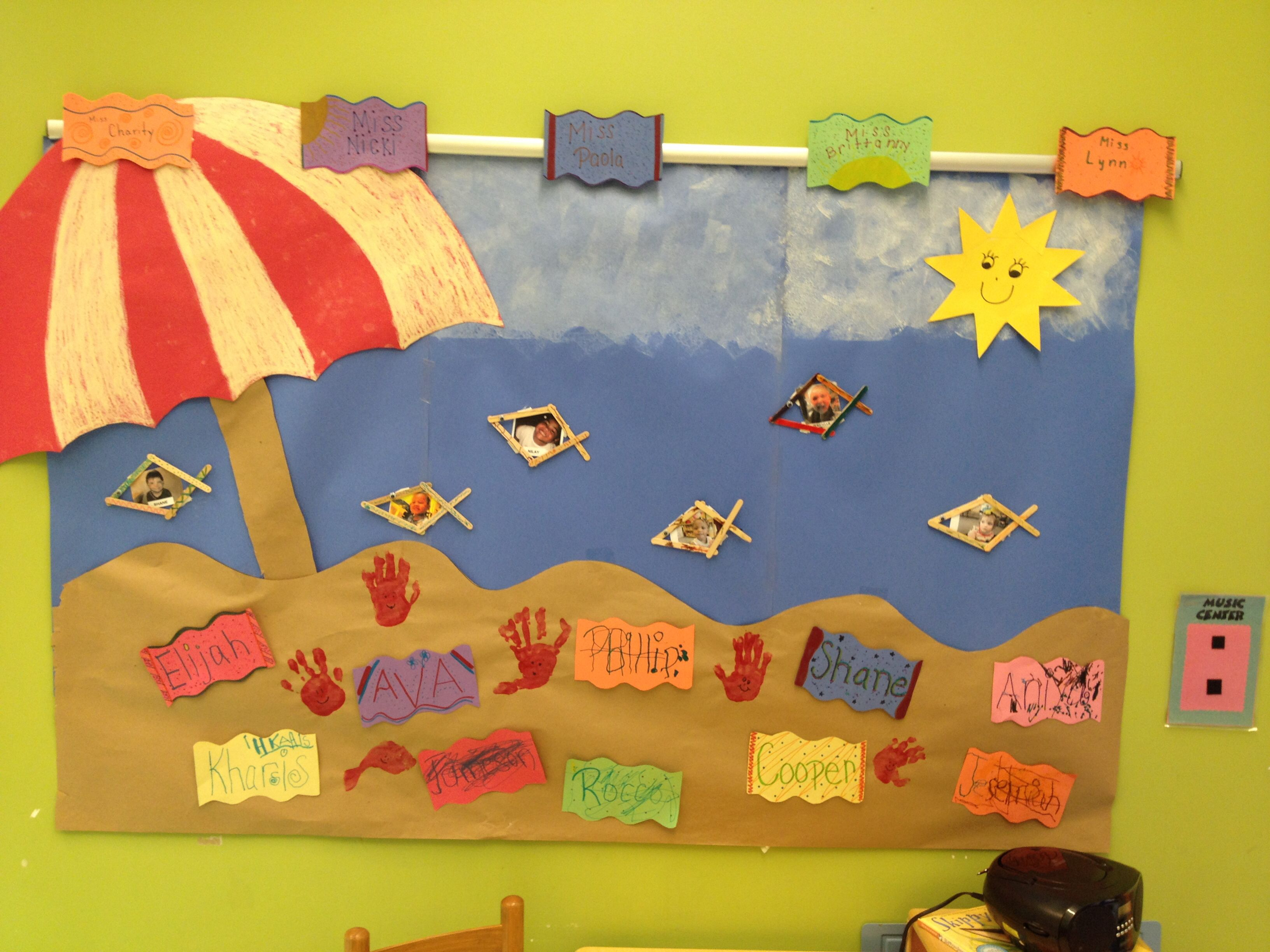 Decorating Beach Towels Sponge Painting Clouds Handprint Crabs Popsicle Stick Fish And Our Giant Umbrella We Are Ready For The