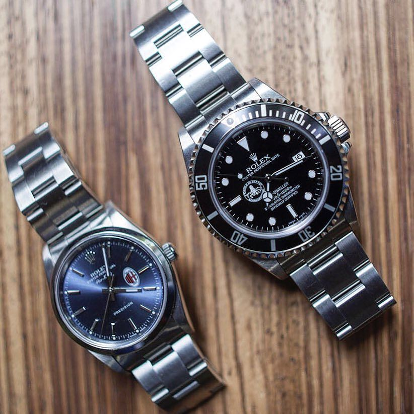 Two Of the Watches that the New York Times mentioned in my interview : Two personalized #Rolex Watches  part Of the #mondani collection . An #airking personalized @acmilan and a #seadweller personalized #poliziadistato . Two precious limited editions. What do you think about these #timepieces ?  #rolexwatches #rolexwatch #limitededition #watchcollector #watchaddict #uhr #reloj #tidssonen #klocksnack #lovewatches #montre #watchesofinstagram #watchporn by giorgiamondani