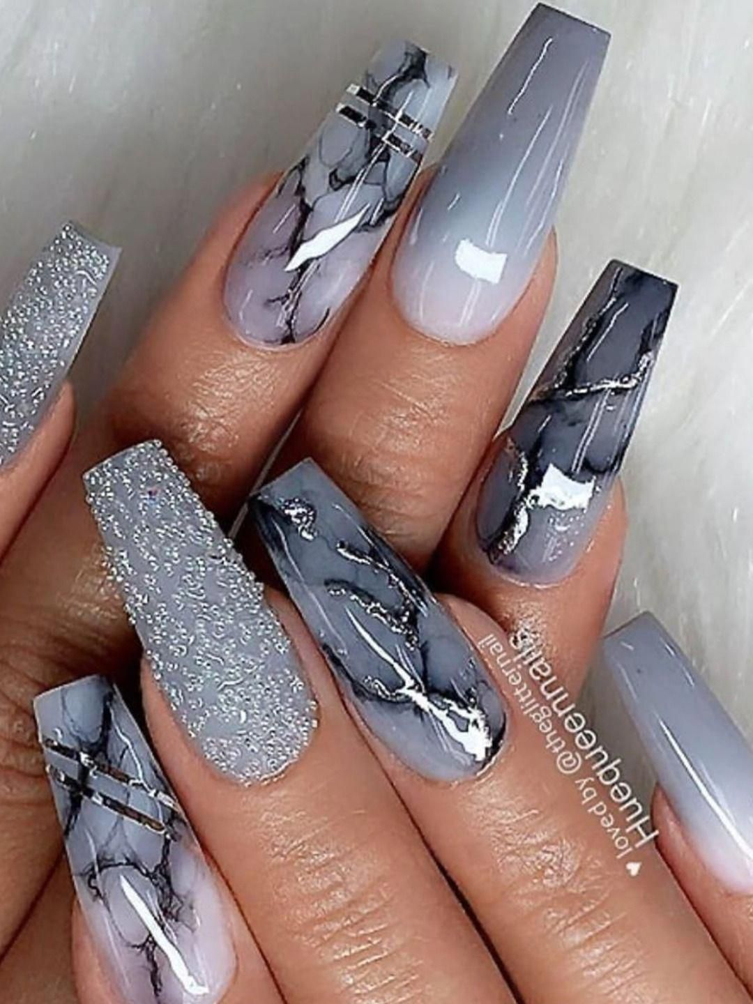 Amazing Grey Coffin Shaped Nails With Marble Glitter And Ombre Grey Nails For Inspiration Graynails Coff In 2020 Coffin Shape Nails Ombre Acrylic Nails Swag Nails