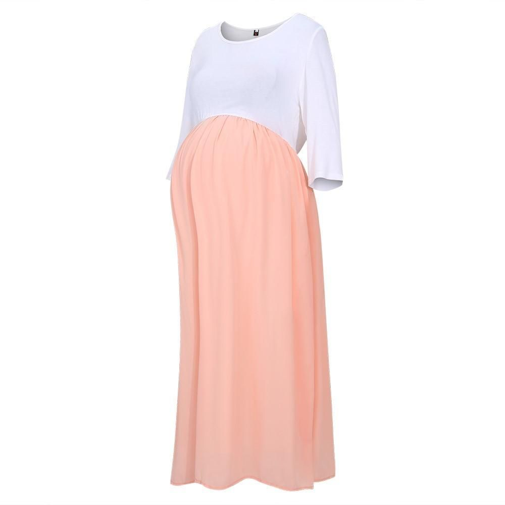 cc744d90b3d Light Pink Chiffon Colorblock Plus Maternity Maxi Dress - Data ...