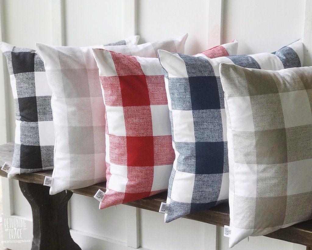 Buffalo Check Farmhouse Pillow Cover Black Gray Red Navy Tan