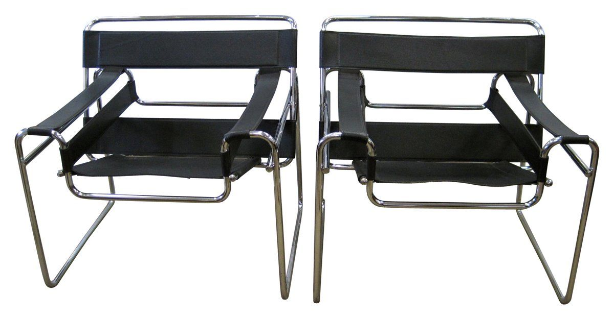 Pair Of Wassily Style Chairs With Stitched Black Leather And A Chromed  Steel Tube Frame