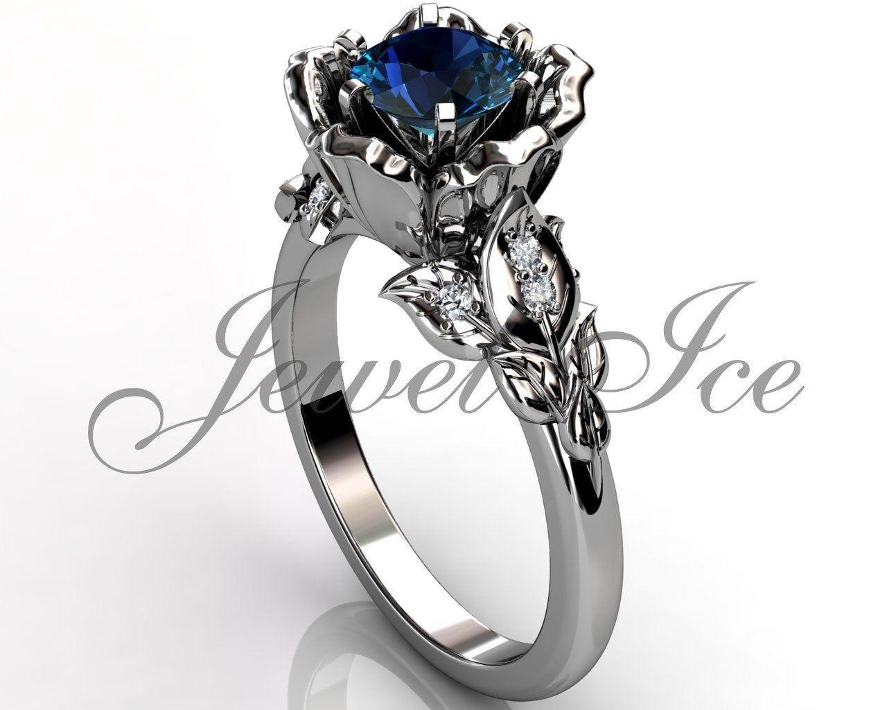 Alexandrite genuine diamond engagement ring 14k white