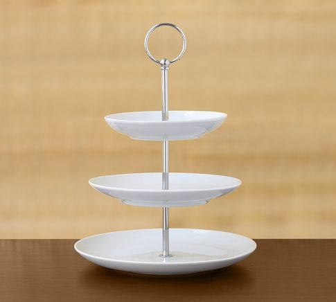 Simple Clean And Ready To Be Dressed With Beautiful Tea Treats Tiered Stand White Tiered Stand Pastry Stand