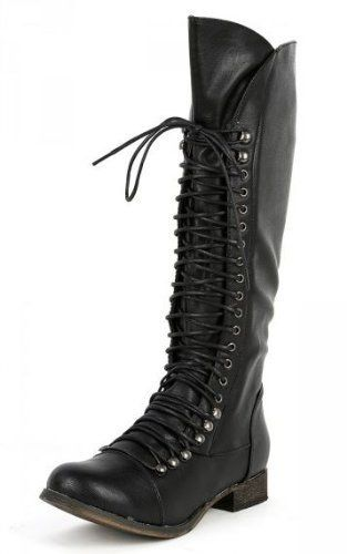 96a4113a3a9 Breckelles Women s Georgia-35 Knee High Lace-Up Combat Boot